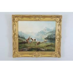Théodore Lévigne : Bergère Et Moutons En Montagne