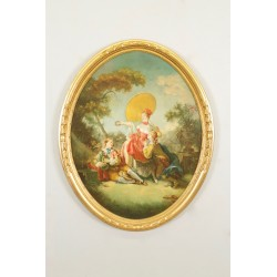 Tableau scène galante dans le goût de Jean-Honoré Fragonard